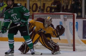 Schierhorn Stands Tall In 2-1 Gopher Victory Over Fighting Hawks